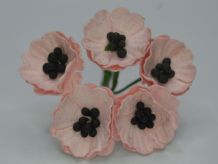 PEACH PINK POPPY / PAPAVER (1.8 cm) Mulberry Paper Flowers